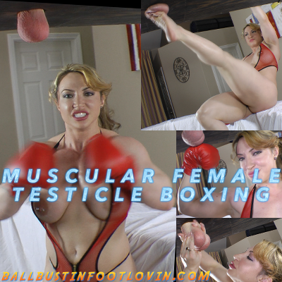 Muscular Female Testicle Boxing